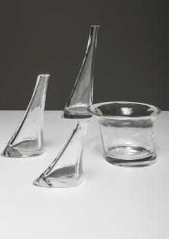 Compasso - Set of 4 Crystal Vases by Angelo Mangiarotti for Cristlleria Colle