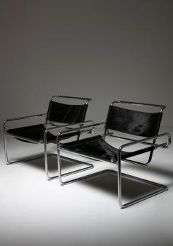 Compasso - Pair of Cantilever Steel chairs by Luigi Saccardo for Arrmet