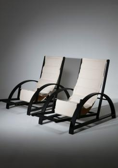 "Compasso - Pair of ""Vela"" Deck Chairs by Carlo Pagella for Romanutti"