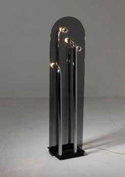 Compasso - Italian 70s Smoked Glass Floor Lamp