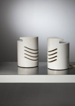 "Compasso - Pair of ""Maris"" Carrara Marble Table Lamps by Gresleri for Sirrah"