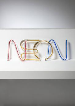 "Compasso - ""N"" ""E"" ""O"" ""N"" Crystal Letters by Massimo Vignelli for Venini"