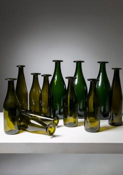 Compasso - Set of 11 Green Glass Bottles by Jasper Morrison for Cappellini