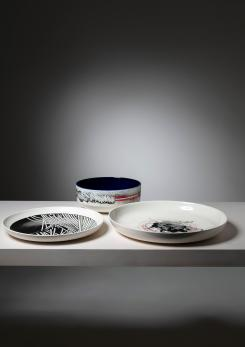 Compasso - Set of Three Ceramic Pieces by Emilio Scanavino for Cedit