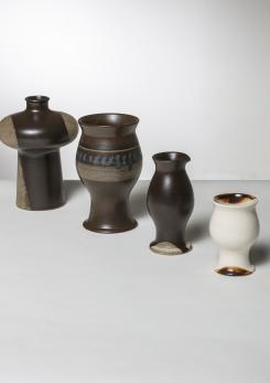 "Compasso - Set of Four ""Terra"" Vases by Ambrogio Pozzi for Ceramica Franco Pozzi"
