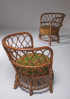 Compasso - Set of Two Italian 50s Wicker Chairs by Lio Carminati for Casa & Giardino