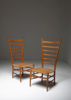 Compasso - Pair of Italian 50s High Back Chairs by Sanguineti