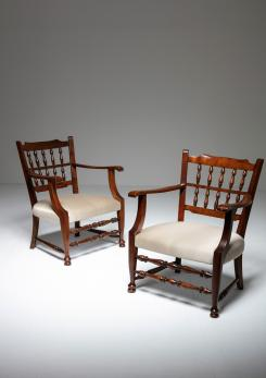 Compasso - Rare Pair of Armchairs by Tomaso Buzzi