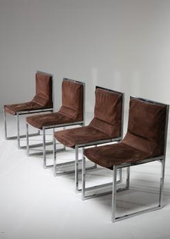 "Compasso - Unique Set of Four ""Wright/Wright"" Chairs by Nanda Vigo for Driade"