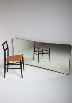 Compasso - Large Italian 50s Wall Mirror with Brass Frame