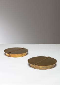 Compasso - Pair of Brass Boxes Manufactured by Azucena