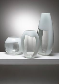 Compasso - Set of Three Glass Vases Manufactured by Vetreria Vistosi