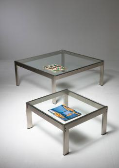 "Compasso - Set of Two ""Tau"" Steel Tables by Gae Aulenti for La Rinascente"