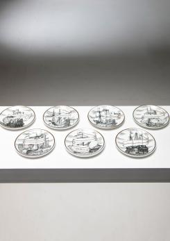 Compasso - Set of Seven Coasters by Piero Fornasetti