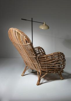 Compasso - Large Wicker Lounge Chair Attributed to Castano