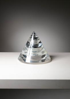 "Compasso - ""Smoke"" Plexiglass Pyramidal Set by Luigi Massoni for Guzzini"