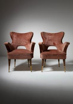 Compasso - Rare Pair of Italian 50s Easy Chairs