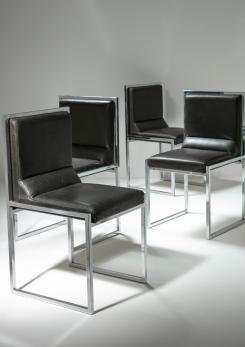 "Compasso - Set of Four ""Wright/Wright"" Leather Chairs by Nanda Vigo for Driade"