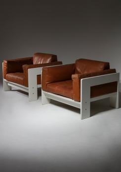 "Compasso - Pair of ""Bastiano"" Lounge Chairs by Afra and Tobia Scarpa for Gavina"