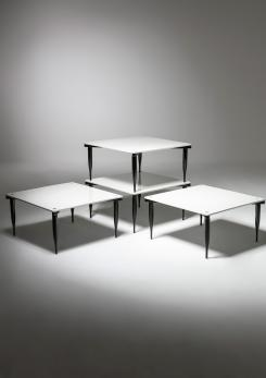 Compasso - Set of Four T8 Stackable Tables by Vico Magistretti for Azucena
