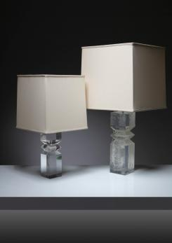 Compasso - Pair of Plexiglass Table Lamps by Alessio Tasca for Fusina