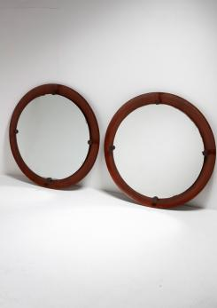 Compasso - Pair of Wood Mirrors by Ezio Longhi for Elam