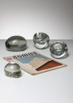 Compasso - Set of Four Solid Crystal Stones by Barbini