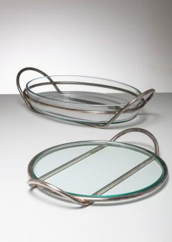 Compasso - Pair of Silver Plated trays by Lino Sabattini for Argenteria Sabattini