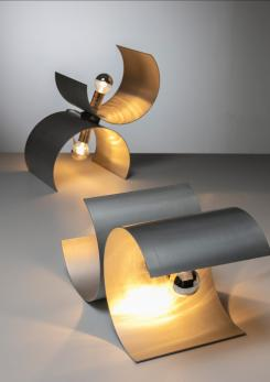Compasso - Rare Pair of Aluminum Table Lamps by Nucleo Sormani