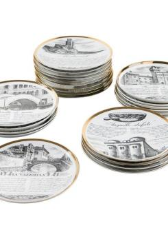 Compasso - Unique Set of 24 Dinner Plates by Piero Fornasetti