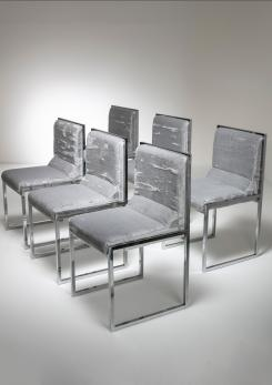 "Compasso - Unique Set of Six ""Wright/Wright"" Chairs by Nanda Vigo for Driade"