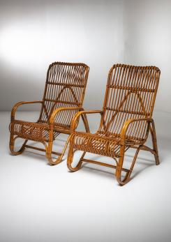 Compasso - Set of Two Italian 60s Wicker Lounge Chairs