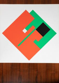 "Compasso - Complete Set of Six ""Negativo-Positivo"" Screenprints by Bruno Munari for Danese"