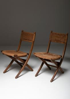 Compasso - Pair of Italian 60s Folding Cord Chairs