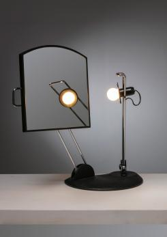 Compasso - Italian 80s Articulated Desk Mirror with Lamp