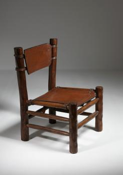 Compasso - Rare Leather and Chestnut Easy Chair by Longhi