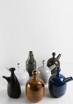 Compasso - Unique Set of Seven Ceramic Carafes by Ambrogio Pozzi for Pozzi