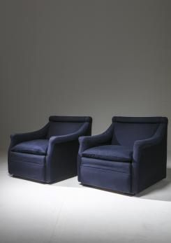 "Compasso - Pair of ""San Siro"" Lounge Chairs with Ottomans by Caccia Dominioni for Azucena"