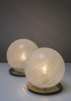 "Compasso - Pair of ""Tessuto"" Table Lamps by Tronconi"