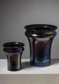 Compasso - Pair of Iridescent Vases by Sergio Asti for Venini