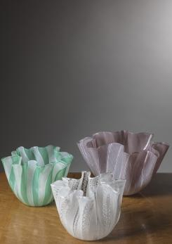 "Compasso - Set of Three ""Fazzoletto"" Vases by Venini"