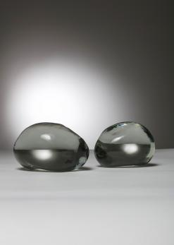 Compasso - Pair of Solid Glass Stones by Barbini