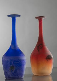 "Compasso - Pair of ""Scavo"" Glass Bottles by Gino Cenedese"