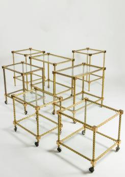 Compasso - Outstanding Set of Seven Brass Carts
