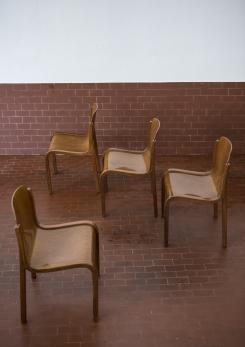 Compasso - Set of four Bartoli Mito plywood chairs for T70