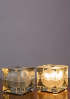 "Compasso - Pair of ""Cubosfera"" Table Lamps by Alessandro Mendini for Fidenza Vetraria"