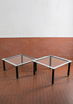 "Compasso - Set of Two ""Fasce Cromate"" Coffee Tables by Luigi Caccia Dominioni for Azucena"
