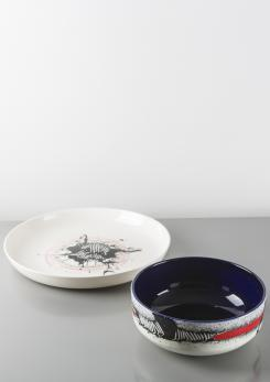 Compasso - Pair of Ceramic Centerpieces by Emilio Scanavino for Cedit