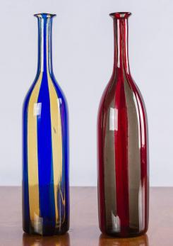 Compasso - Rare Pair of Bottles by Fulvio Bianconi and Paolo Venini
