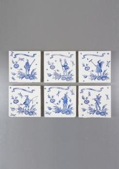 Compasso - Set of Six Ceramic Tiles by Gio Ponti
